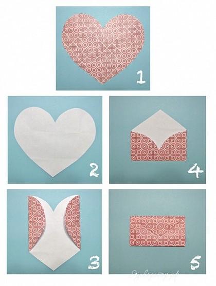 Как сделать из сердечка конверт