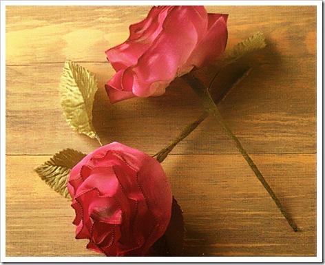 МК.  Розы из лент.Идея для скрапбукинга.